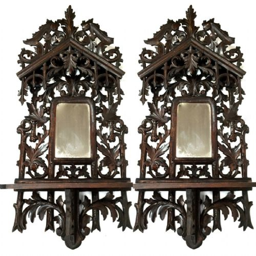Victorian Antique 19th Century Black Forest Wooden Framed Shelf Wall Mirror Pair